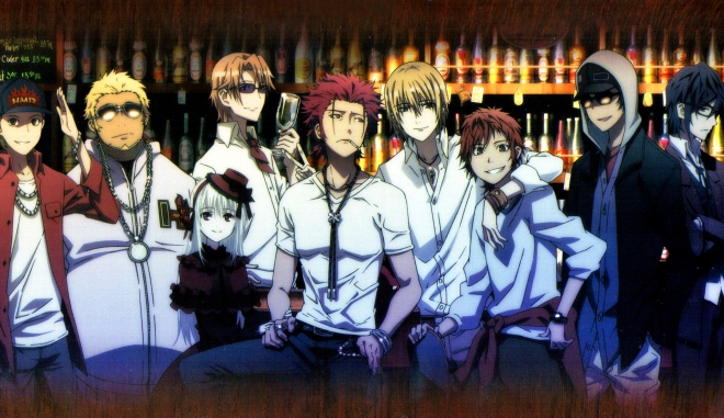 HOMRA, the Red clan, with the Red King Mikoto Suoh at the center.