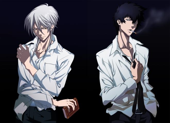Your main antagonist, Makishima Shogo, and Enforcer, Kogami Shinya.